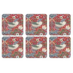 Pimpernel Strawberry Thief Red Coaster William Morris design