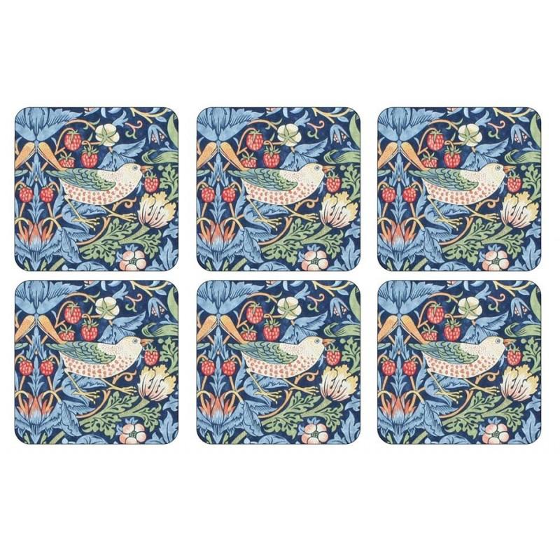 Pimpernel Strawberry Thief Blue Coaster set William Morris pattern