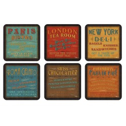 Pimpernel Lunchtime drinks coaster set of 6 vintage signs