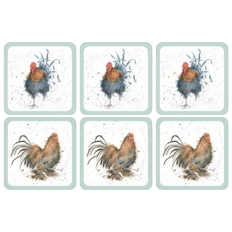 Wrendale Cockerel drinks coasters, two different bird images