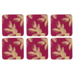 Pimpernel Sara Miller Etched Leaves Pink Coaster