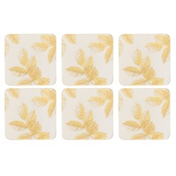 Pimpernel Sara Miller Etched Leaves Light Grey Coaster set of 6