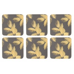 Pimpernel Sara Miller Etched Leaves Dark Grey Coaster set of six