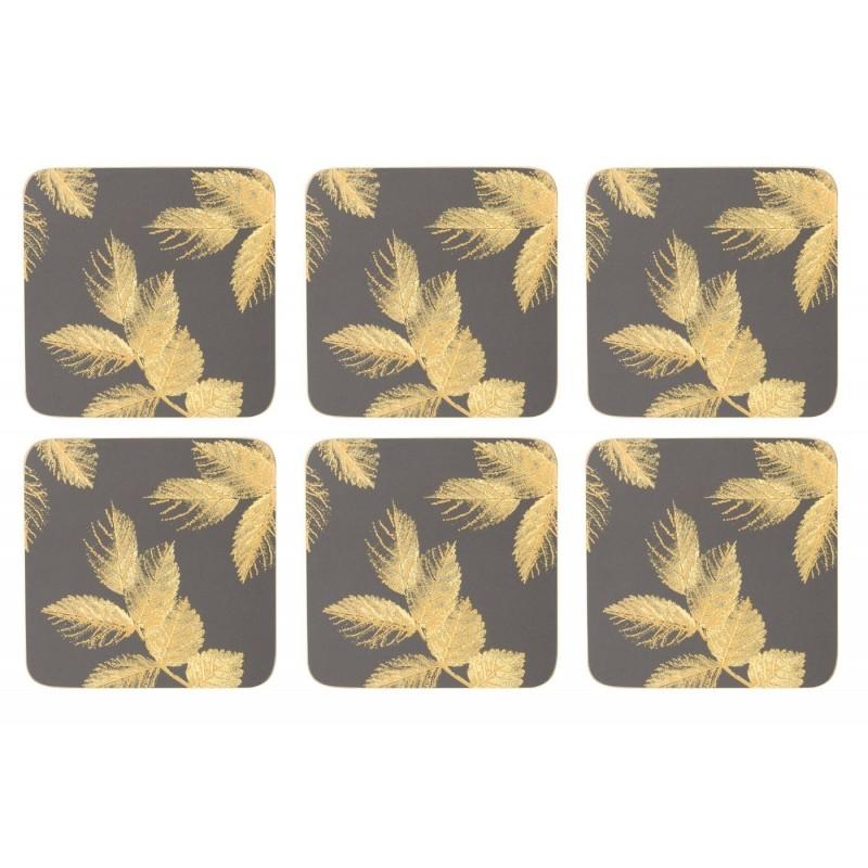 Pimpernel Sara Miller Etched Leaves Dark Grey Coaster set of six