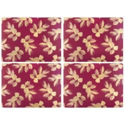Pimpernel Sara Miller Etched Leaves Pink UK Large Tablemats