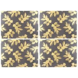 Pimpernel Sara Miller Etched Leaves Dark Grey UK Large Tablemats