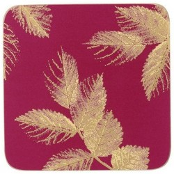 Pimpernel Sara Miller Etched Leaves Pink coasters