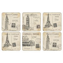 Pimpernel Postcard Sketches Drinks Coaster Set