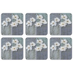 Plymouth Pottery White Poppies Coaster Set