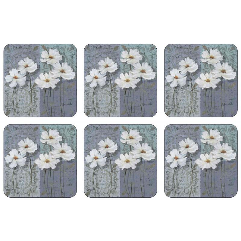 Plymouth Pottery White Poppies Coaster Set