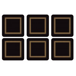 Pimpernel Classic Black drinks coaster, square set of 6
