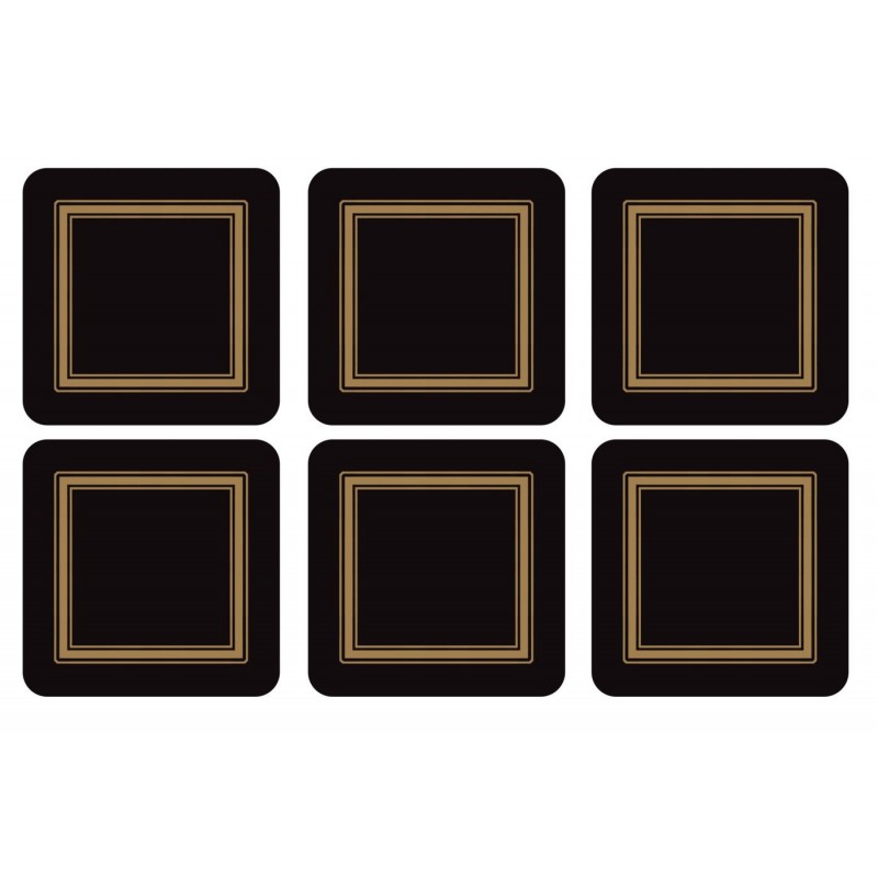 Pimpernel Classic Black drinks coaster, square set of 6