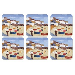 Pimpernel St Ives Windbreak nautical British drinks coaster set
