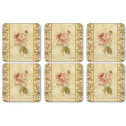 Pimpernel Antique Rose Linen Coaster set