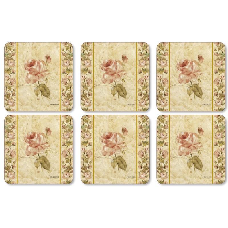 Pimpernel Antique Rose Linen Coaster set