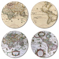 Antique maps placemats round set of 4 melamine assorted designs