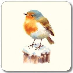 Robin from Garden Birds Mixed Square drinks coaster set