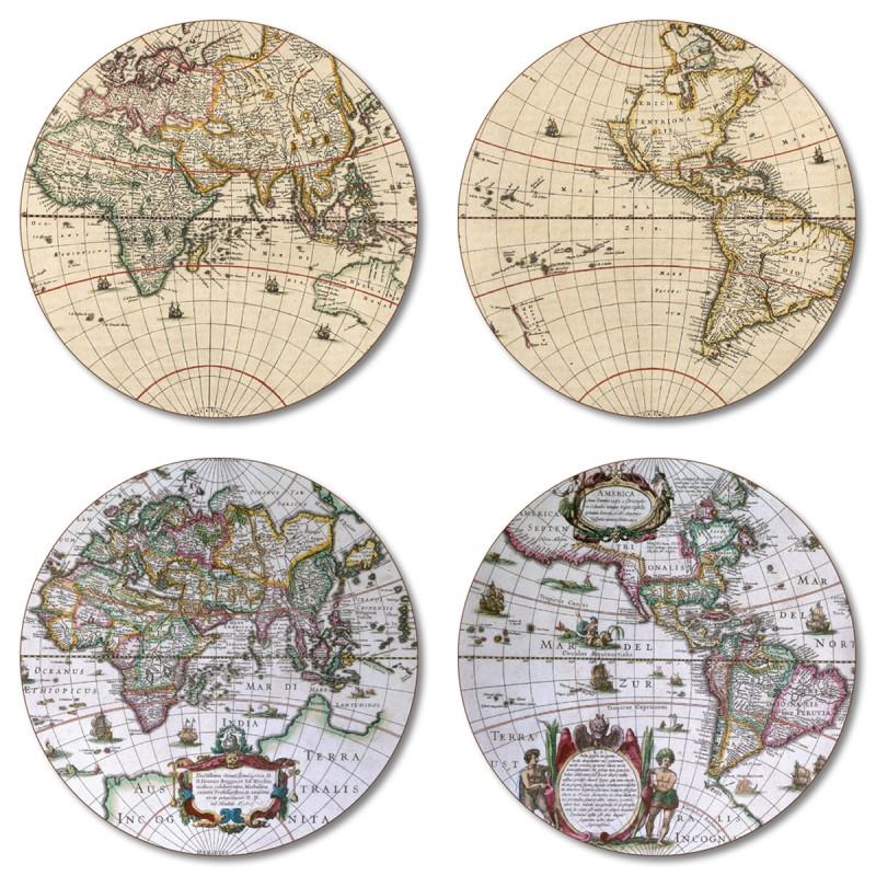 Antique Maps round coasters