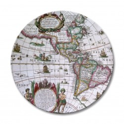 Round drinks coasters set Antique Maps pattern