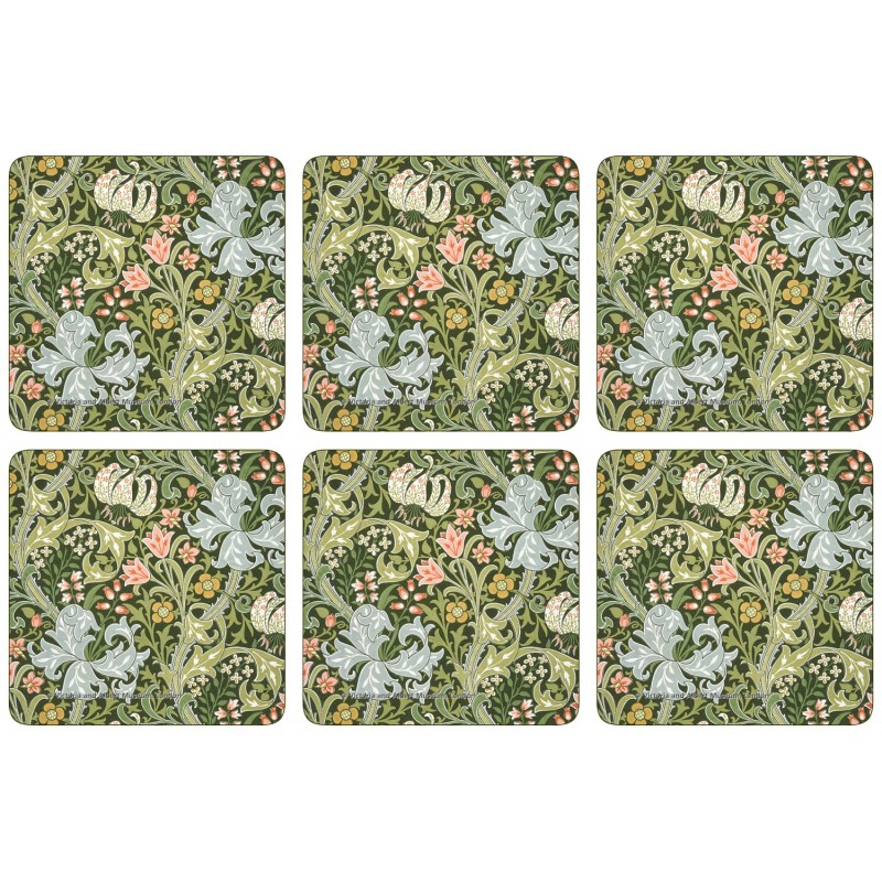Castle Melamine William Morris Golden Lily drinks coaster set of 6