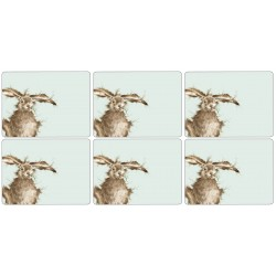 Wrendale Hare cork backed placemats set of 6