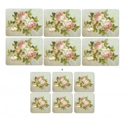 Pimpernel Antique Roses 6 tablemats and 6 coasters