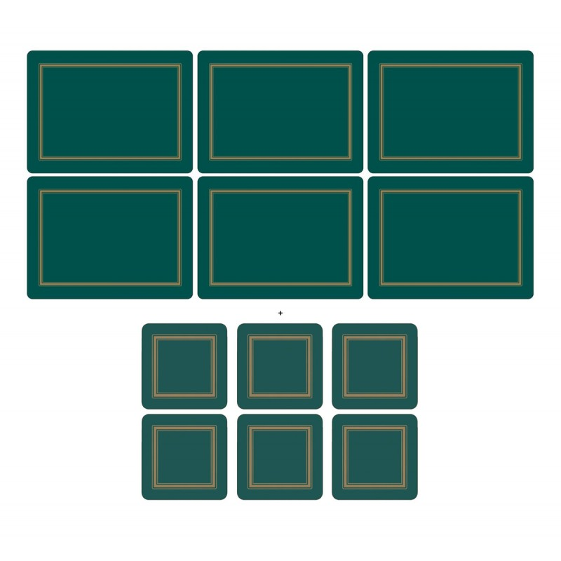 Pimpernel Classic Emerald 6 tablemats and 6 coasters