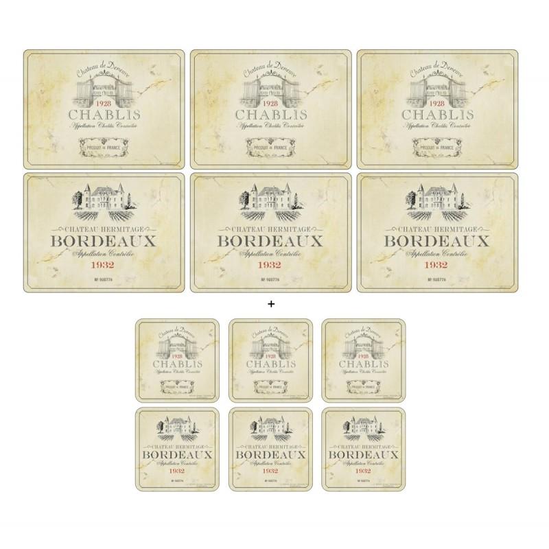 Wine Label Pimpernel Vin de France 6 tablemats and 6 coasters pack