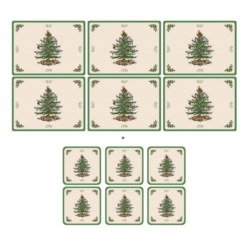 Spode Pimpernel Christmas Tree 6 tablemats and 6 coasters corkbacked