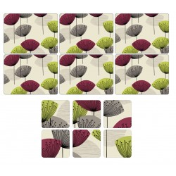 Pimpernel Dandelion Clocks 6 table mats and 6 coasters