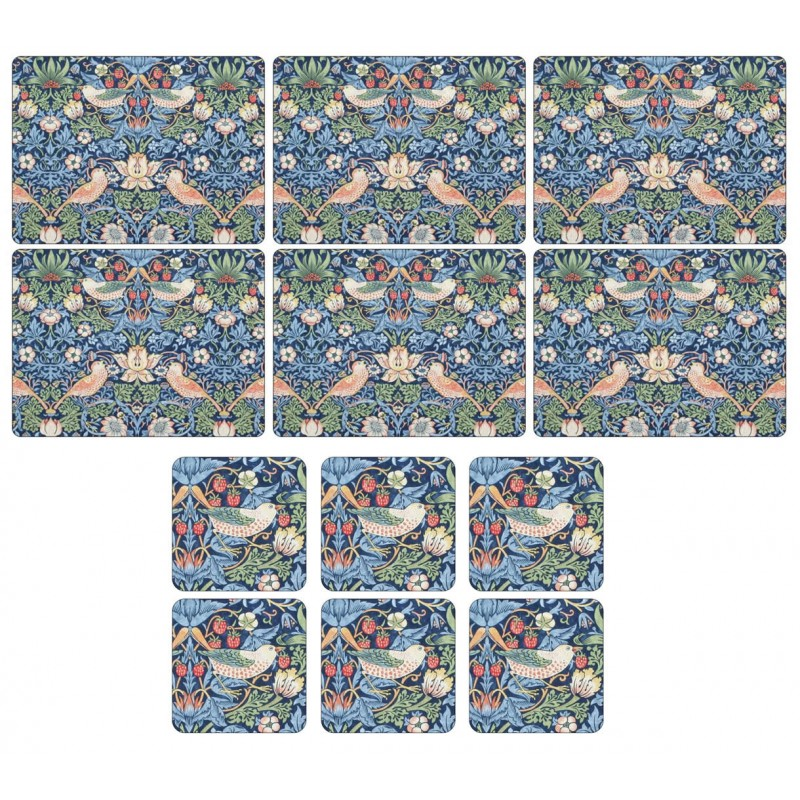 Pimpernel Strawberry Thief Blue 6 tablemats and 6 coasters