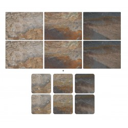 Earth Slate by Pimpernel 6 tablemats and 6 coasters pack