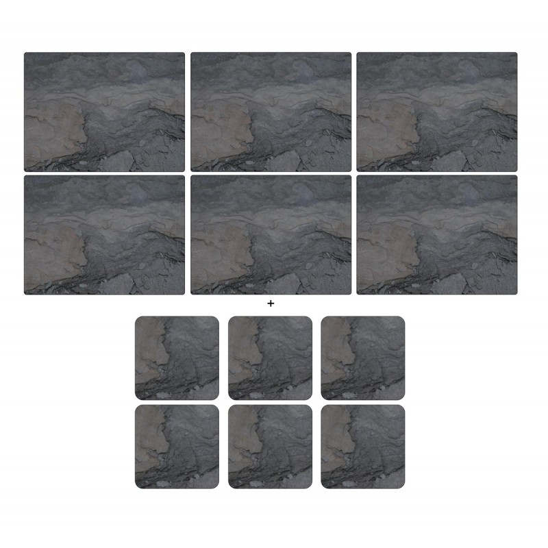 Midnight Slate by Pimpernel 6 tablemats and 6 coasters pack