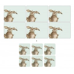 6 Hare placemats and 6 Hare coasters by Wrendale