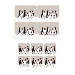 Pack 4 Sara Miller Penguin placemats and 6 Penguin coasters
