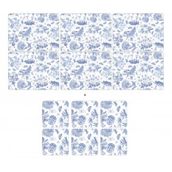 Portmeirion Botanic Blue 6 floral tablemats and 6 coasters corkbacked