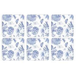 Portmeirion Botanic Blue 6 coasters corkbacked