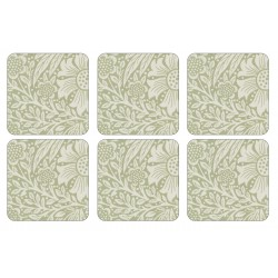 Pimpernel Marigold Green Coaster set William Morris pattern