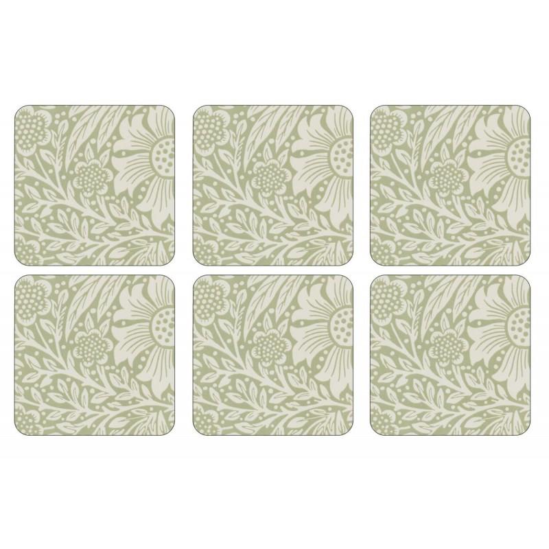 Pimpernel Marigold Green Coaster set William Morris pattern