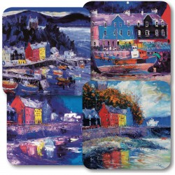 JoLoMo set of 4 square tablemats - assorted designs of Tobermory on the Isle of Mull