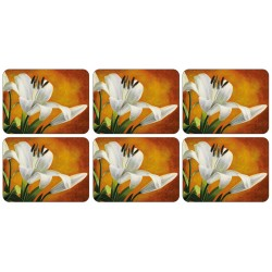 Set of Plymouth Pottery Lily Sunburst floral Placemats