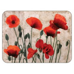 Plymouth Pottery Red Poppies floral corkbacked Placemats
