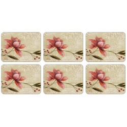 Set of six Plymouth Pottery Antique Bloom floral Placemats