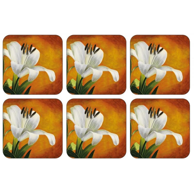 Plymouth Pottery Lily Sunburst Coaster Set of 6