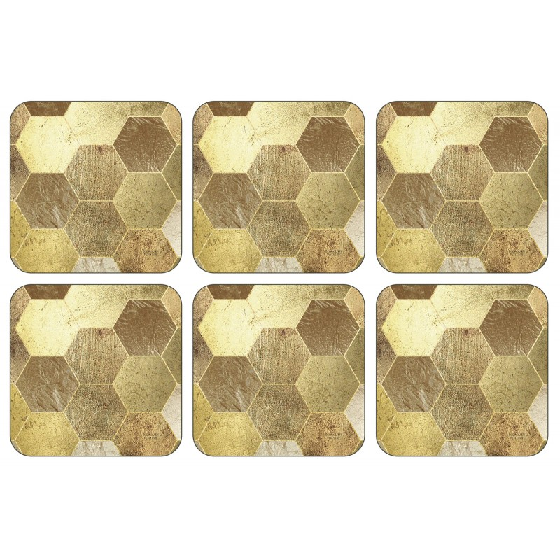 Plymouth Pottery Golden Repeat set of six drinks Coasters