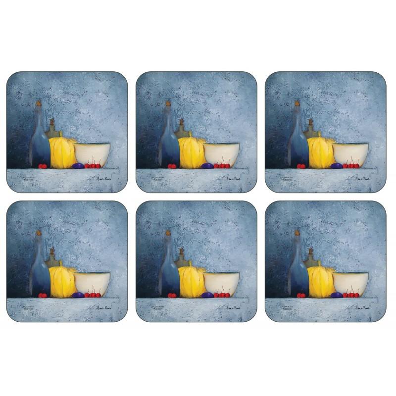 Plymouth Pottery Blue Harmony corkbacked drinks Coaster set