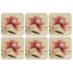 Antique Bloom drinks Coasters set of six from Plymouth Pottery