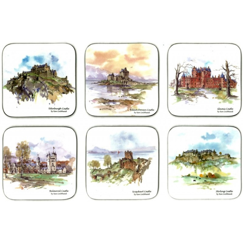 Castle Melamine Scottish Castles Coasters set of 6