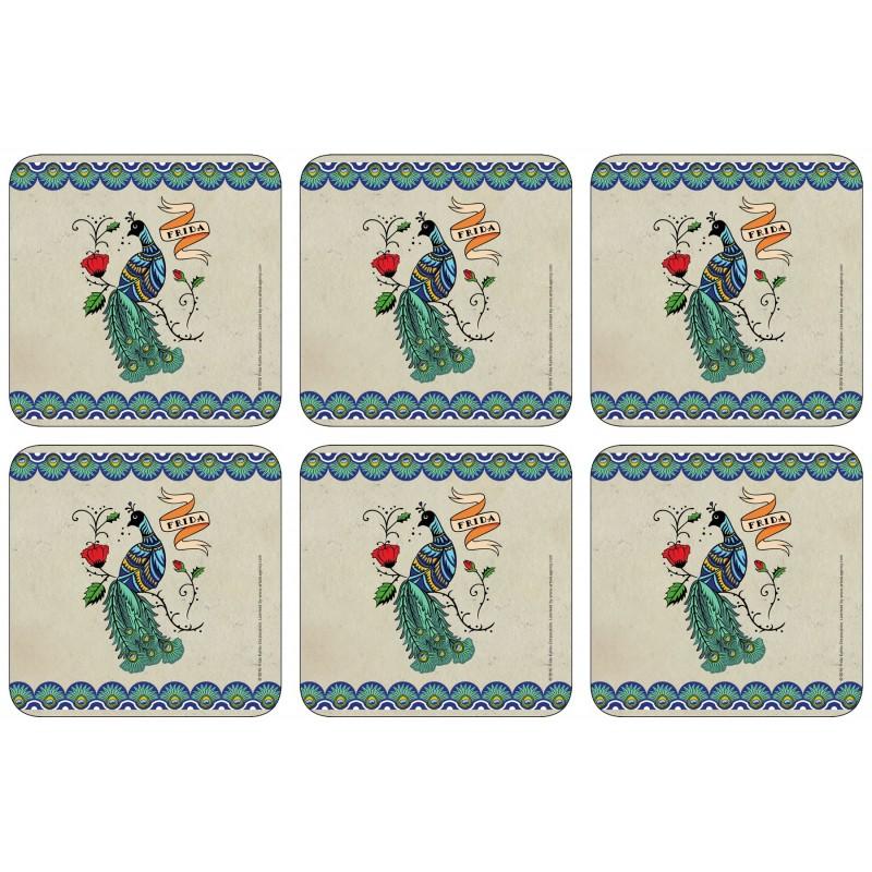 Castle Melamine Frida Kahlo Peacock Coaster